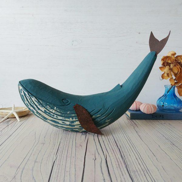 blue wooden whale mantel piece decoration by shoeless joe