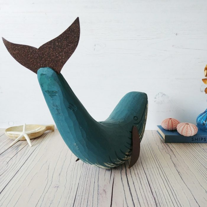 blue wooden whale mantel piece decoration by shoeless joe