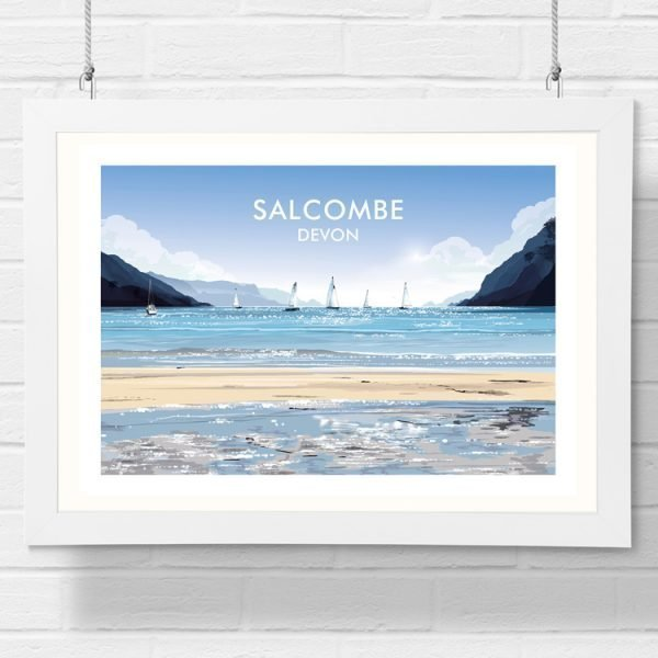 salcombe beach detailed art print by geraldine burles