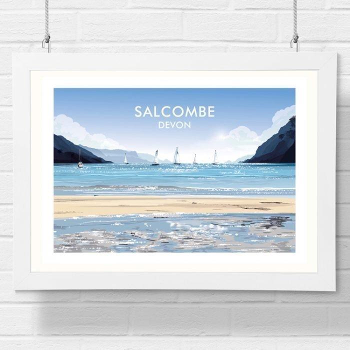 salcombe beach detailed art print by geraldine burles