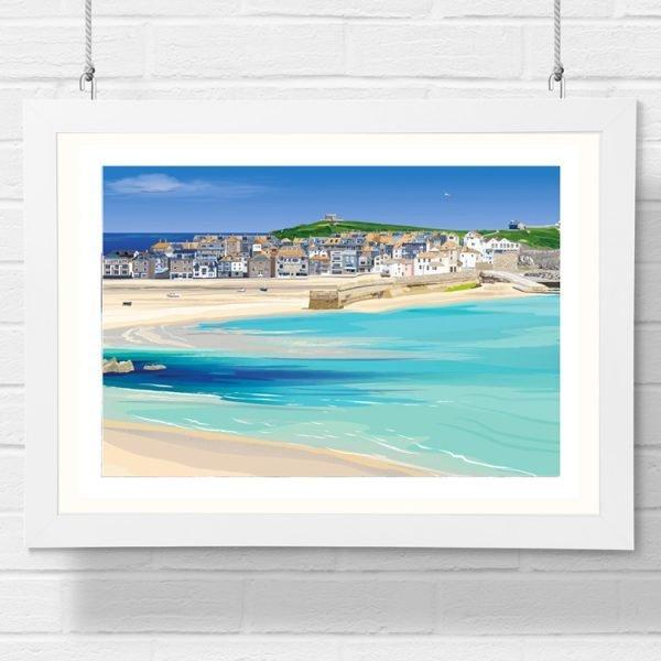 st ives beach detailed art print by geraldine burles