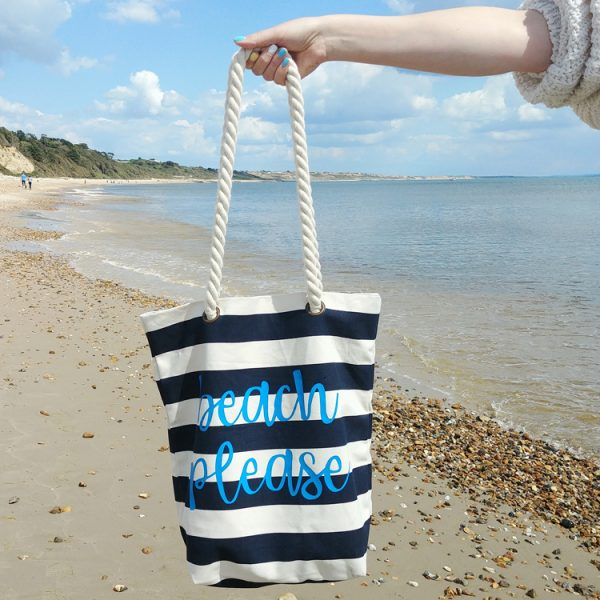 personalised blue and white striped brushed cotton canvas beach bag with rope straps