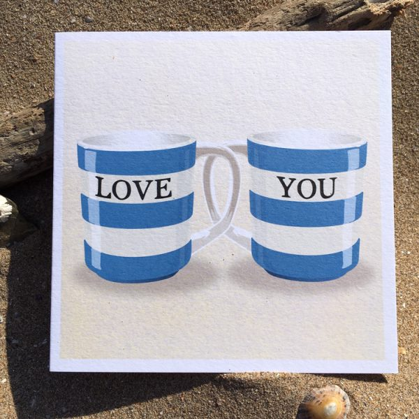 Happy Birthday Corniche striped mug Card