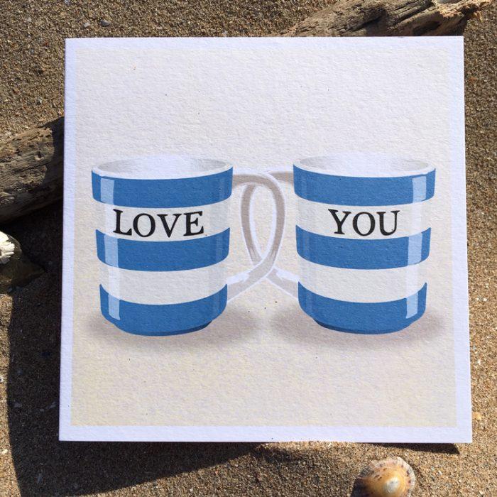 Happy Birthday Corniche striped mug Card