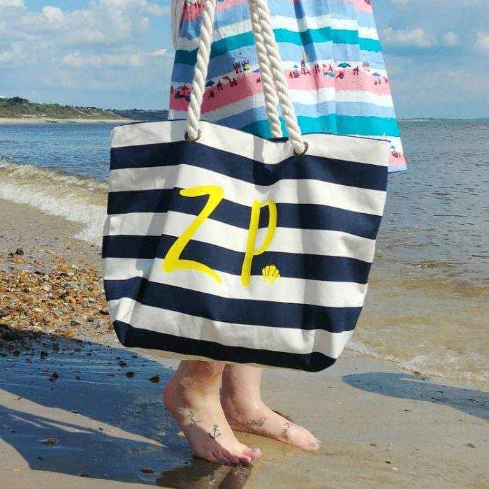 personalised initials blue and white striped brushed cotton canvas beach bag with rope straps