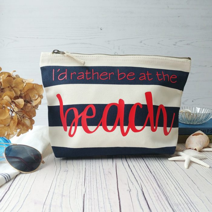 blue and white striped nautical beach pouch