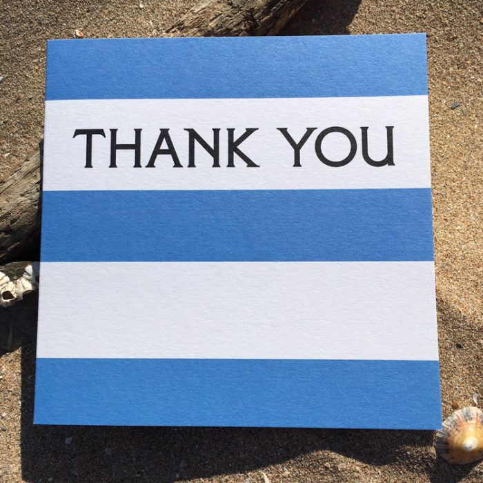 blue and white striped thankyou card