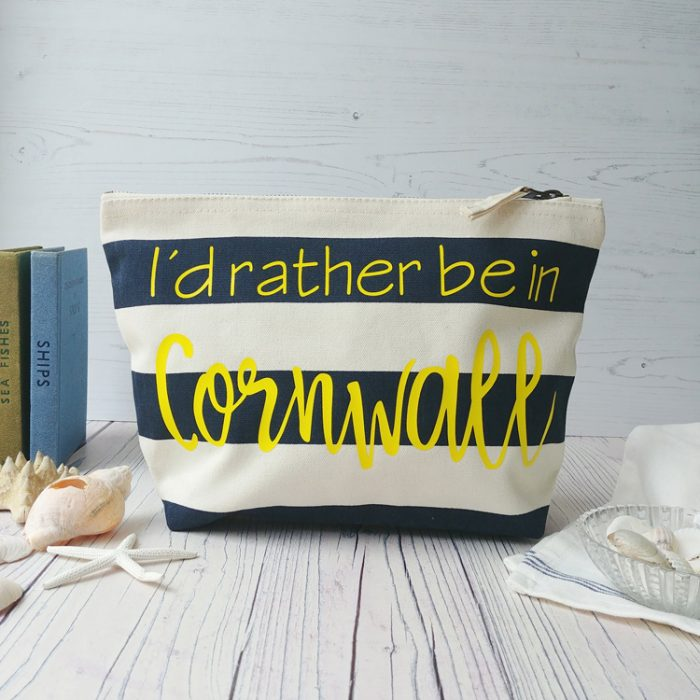 blue and white striped personalised nautical zip pouch