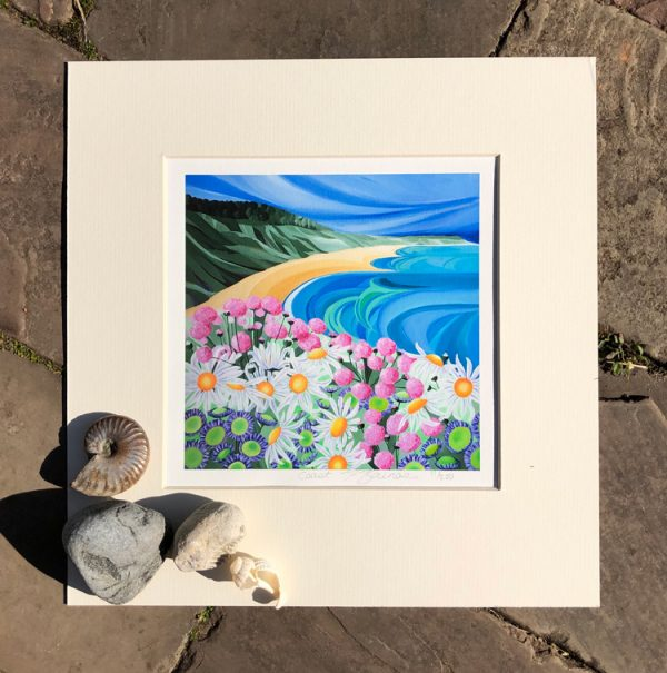 Signed, limited edition print from an original acrylic painting by Faye Baines. Inspired by the beautiful coasts of Devon. Printed on fine art, archival, acid free paper with a cream mount
