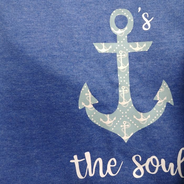 blue sweatshirt with hope anchors the soul quote in white vinyl