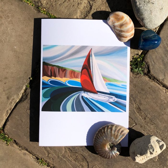 Sailing Greeting Card by artist Faye Baines. From an original painting and printed on high quality white card