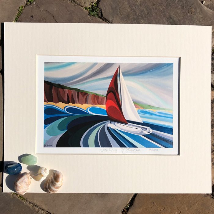 Sailing print by artist Faye Baines. From an original painting and printed on high quality white card