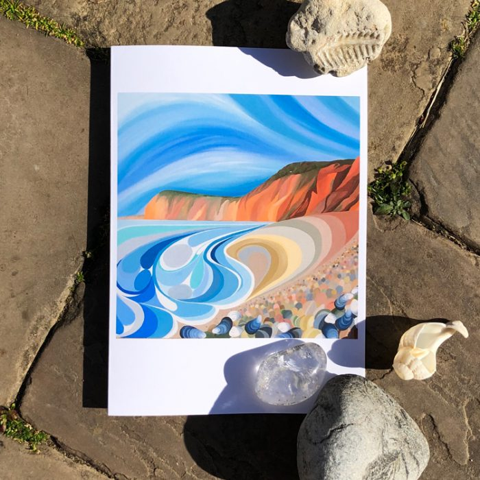 Sidmouth Cliffs Greeting Card by artist Faye Baines. From an original painting and printed on high quality white card