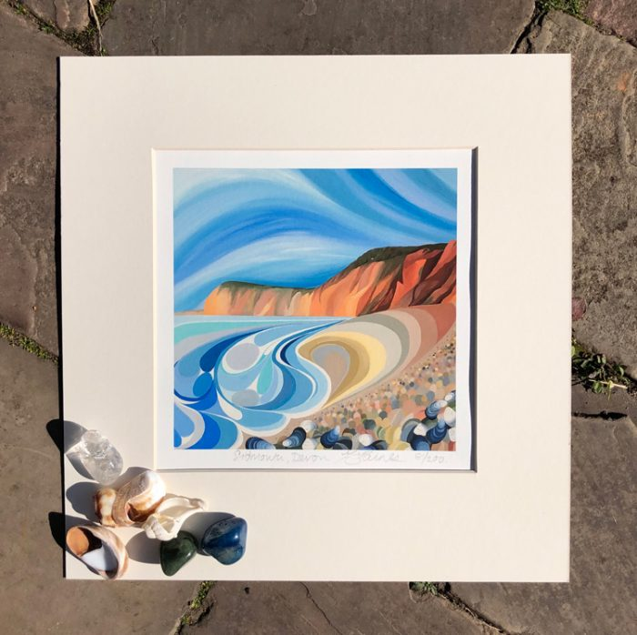 Signed limited edition print from an original acrylic painting by Faye Baines. Inspired by the cliffs at Sidmouth in Devon. Printed on fine art archival acid free paper with a cream mount.