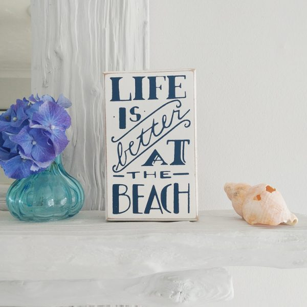 white and navy Better At The Beach quote wooden wall hanging plaque