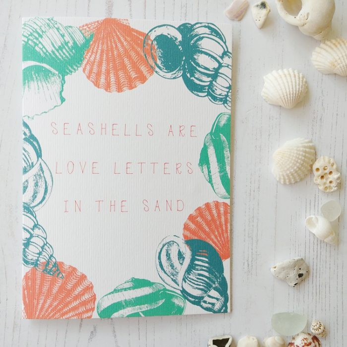 seasells are love letters in the sand quote seashell greetings card