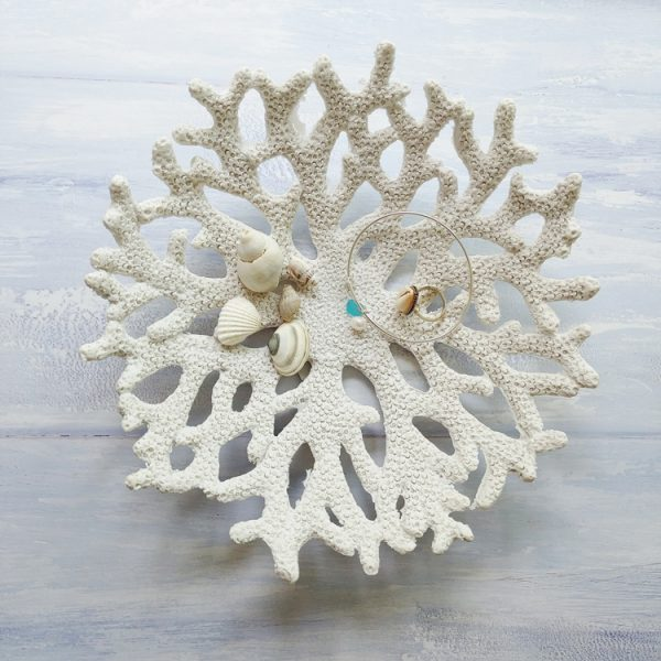 white resin coral decorative dish with shells in the middle