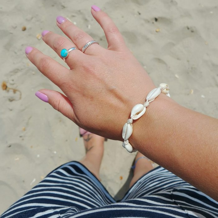 Cowrie Shell Adjustable wrist or ankle Bracelet dade from natural shells
