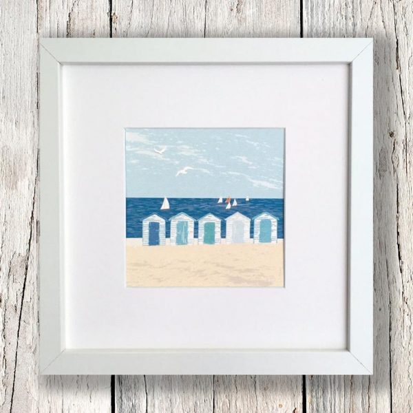 framed beach hut print