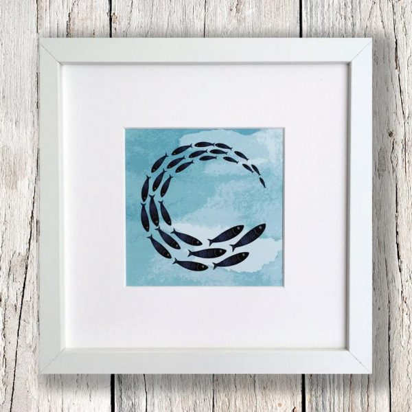 framed fish shoal print