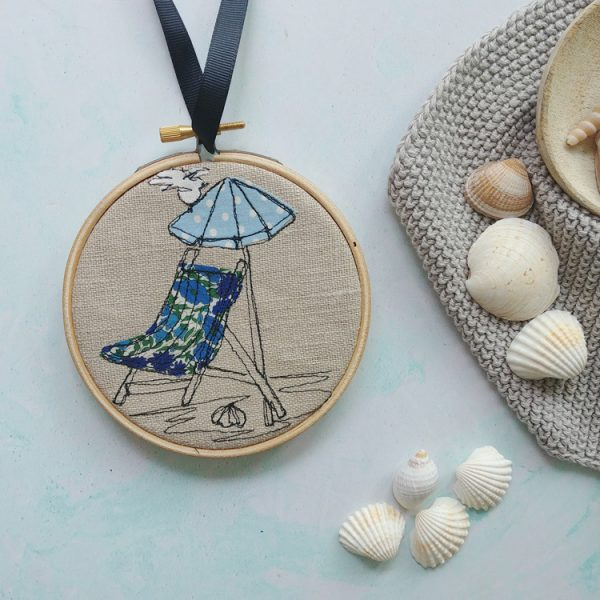 embroidered deck chair wall hanging hoop