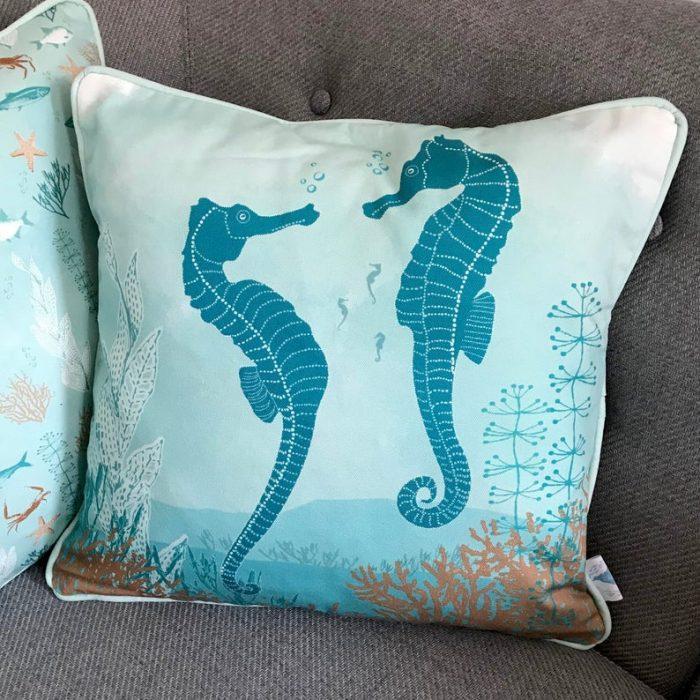 blue seahorse cotton cushion