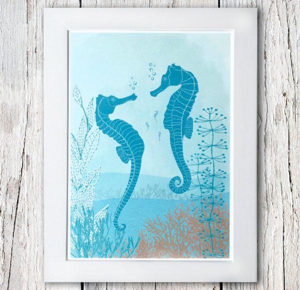 framed seahorse print