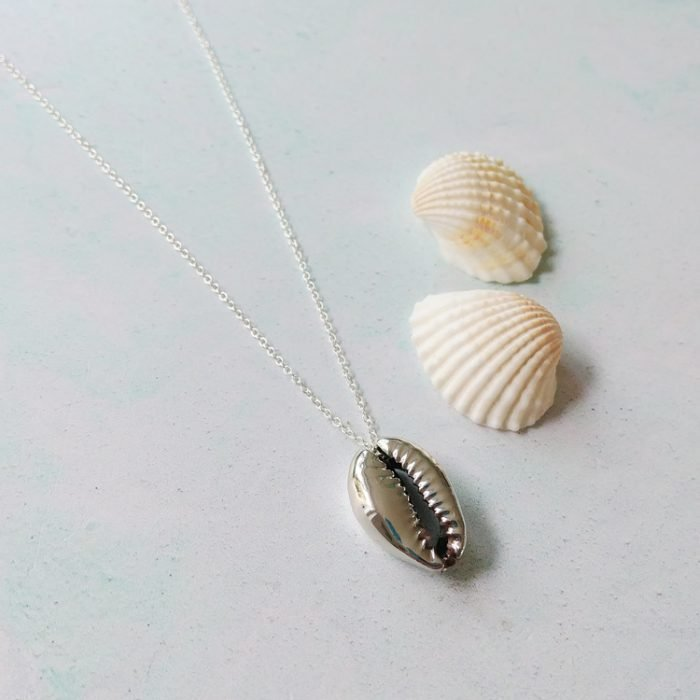 elegant sterling silver cowrie shell necklace