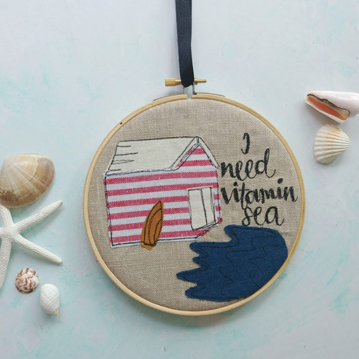 I need vitamin sea quote embroidered beach hut hanging hoop