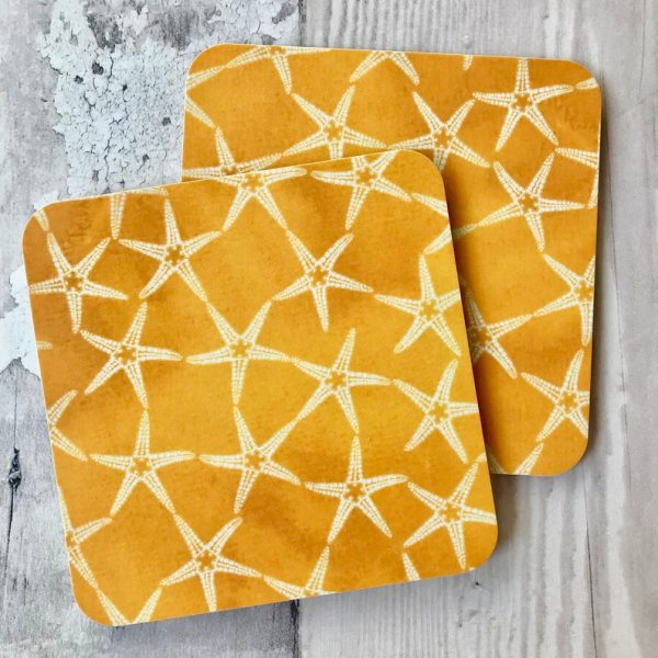 yellow ochre starfish patterned coasters