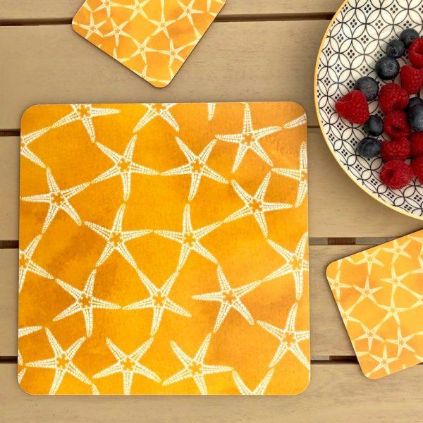 yellow patterned starfish placemats