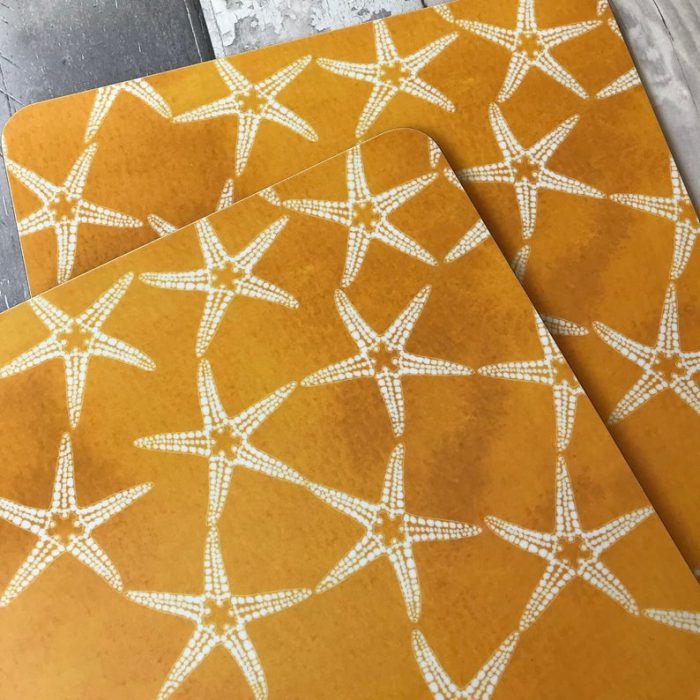 yellow patterned starfish placemats2