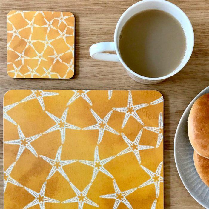 yellow patterned starfish placemats3