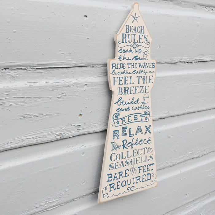 beach rules wooden sign