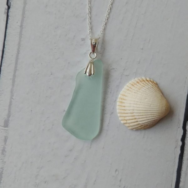 blue wave seaglass pendant necklace