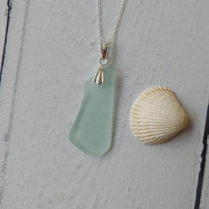 blue wave seaglass pendant necklace