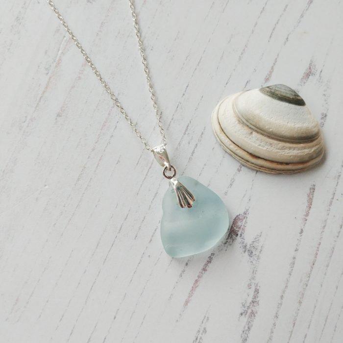 bottle top seaglass pendant necklace
