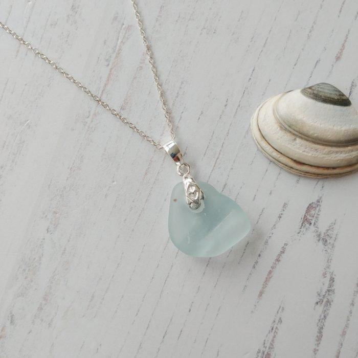 bottle top sea glass pendant necklace