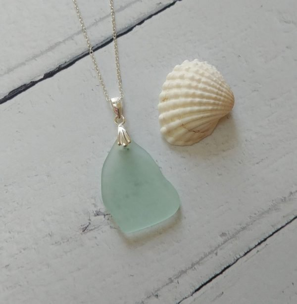 brilliant blue seaglass pendant necklace