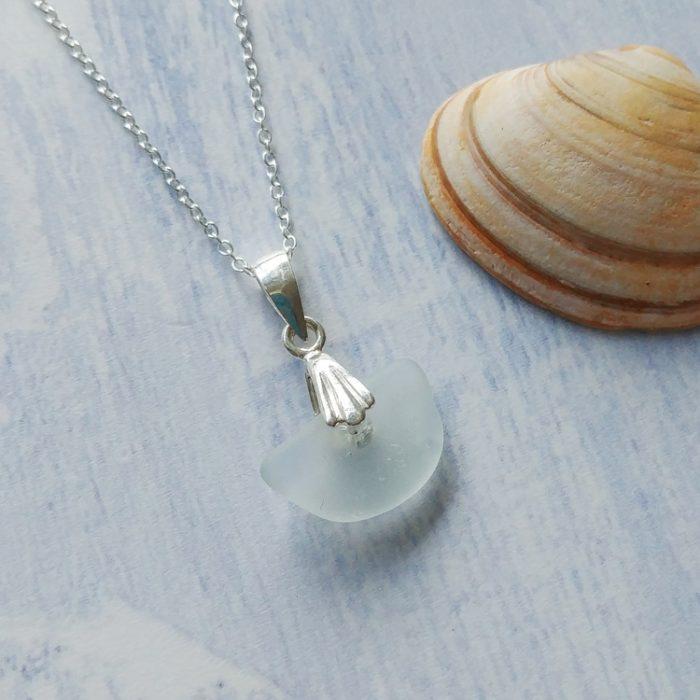 crescent shape sea glass pendant necklace