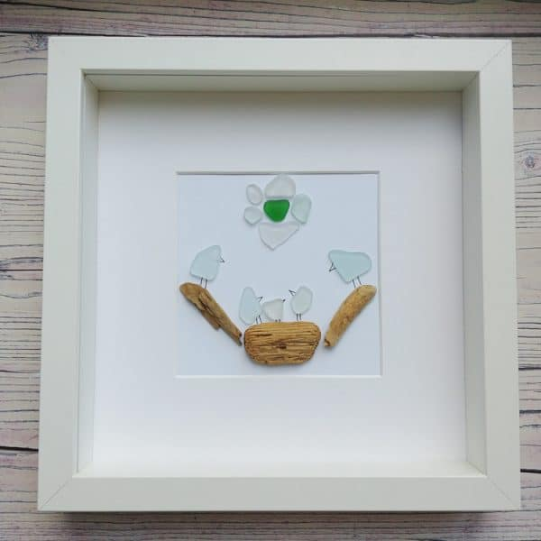 family nest sea glass framed picture