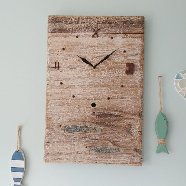 three fish wooden wall clock