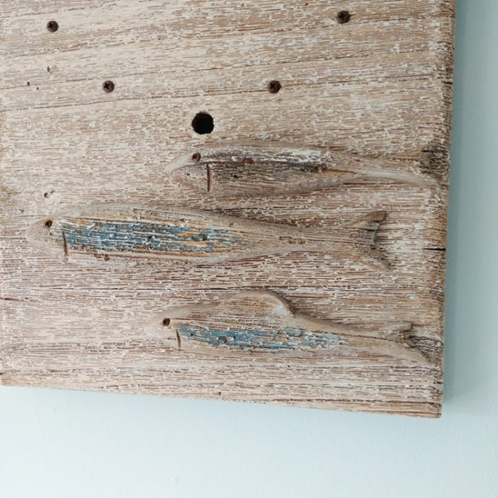 three fish wooden wall clock