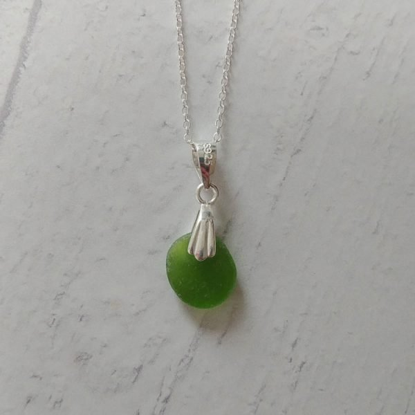 green seaglass pendant necklace