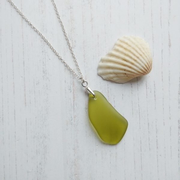 bottle green sea glass pendant necklace