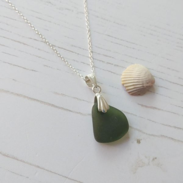 green seaglass pendant