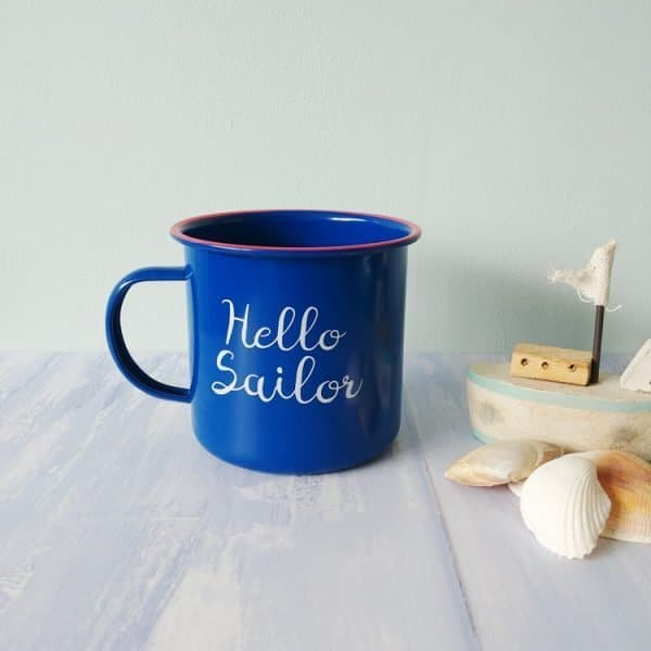 hello sailor enamel mug