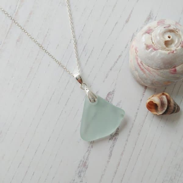 large blue seaglass pendant necklace