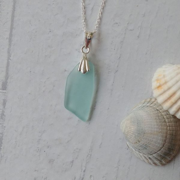 seaside blue seaglass pendant necklace