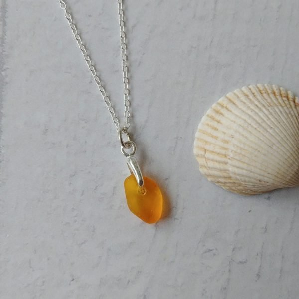sunshine seaglass pendant necklace